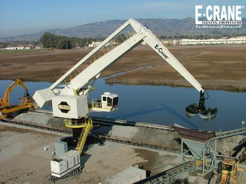 E-Crane® enables California firm to unload barges quickly. Landing way depot