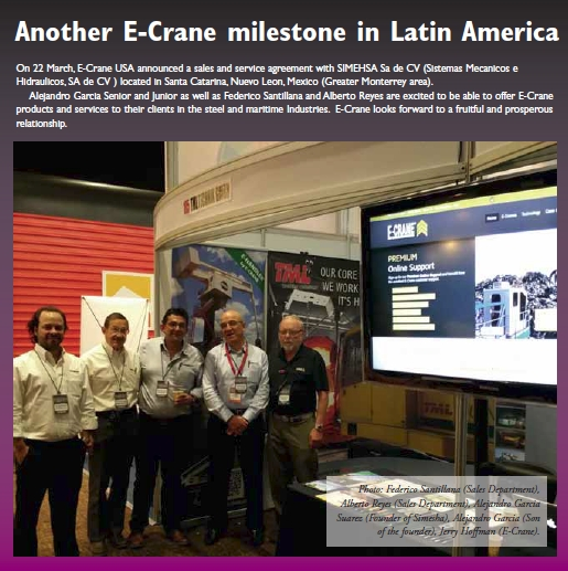 Photo: Federico Santillana (Sales Department), Alberto Reyes (Sales Department), Alejandro Garcia Suarez (Founder of Simesha), Alejandro Garcia (Son of the founder), Jerry Hoffman (E-Crane).